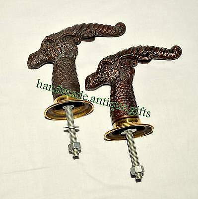 Set 2 pcs Antique Solid Metal Rem Style Retro Entry Door Handle @