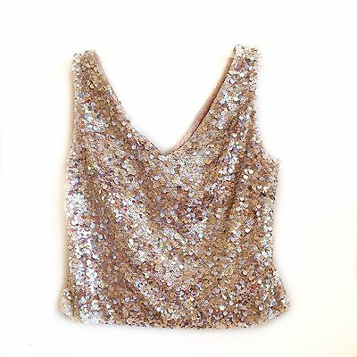 Women's Daymor Gold Nude Sequin Prom Formal Dress Top Size 10