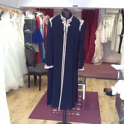 Sherwani In Navy With Silver/gold/red Embroidery And Brocade
