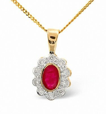Ruby and Diamond Pendant Yellow Gold Necklace Cluster Appraisal Certificate
