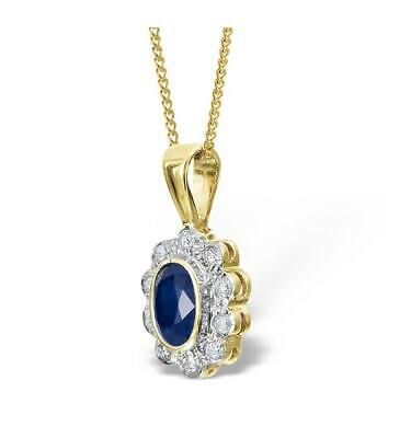 Sapphire and Diamond Pendant Cluster Necklace Yellow Gold Appraisal Certificate