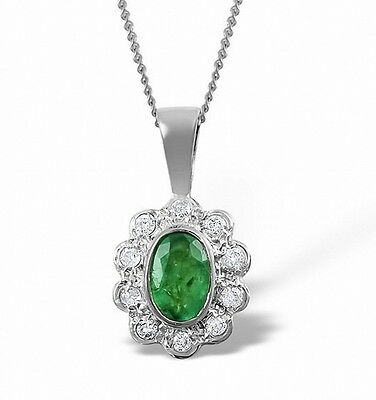 Emerald and Diamond Pendant White Gold Necklace Cluster Appraisal Cetificate