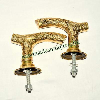 Antique Vtg Pair Brass door handles Church Art Deco Pub Georgian Victorian @