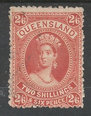Queensland 1882 Qv Large Chalon 2/6 Wmk Crown/q Upright Used