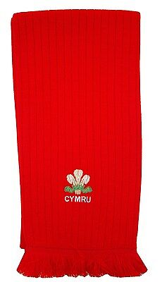 Wales Cymru Rugby Red Embroidered Scarf - Made in UK