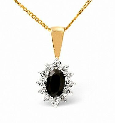 Sapphire and Diamond Pendant Yellow Gold Cluster Necklace  Appraisal Certificate