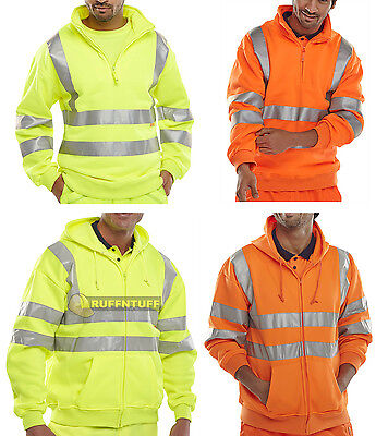 High Viz Vis Hooded Zip Sweatshirt Safety Work Reflective Jumper Hoodie Hi Vis