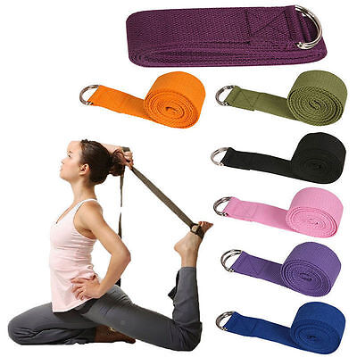 Yoga Pilate Cotton Stretch Strap D-Ring Belt Waist Leg Resistance Exercise Band