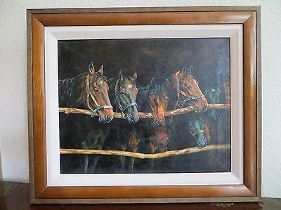 "Vintage Oil Painting by Artist Staulkner/Lebron "" Horses"" Wood Frame Realistic !"