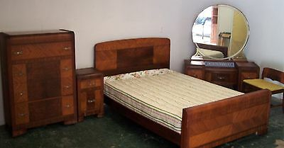 Waterfall Bedroom  Vanity with Chair,  Nightstand, Full Bed,Chest of Drawers