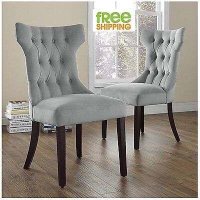 Upholstered Dining Chair Set Gray Elegant Tufted Side Chair Comfortable Wood New