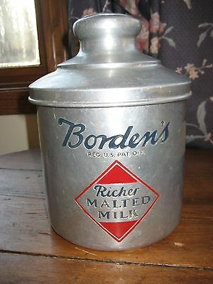 Antique Vintage Original Borden's Malted Milk Soda Fountain Can Tin
