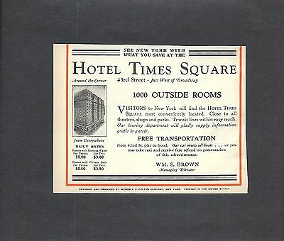 1931 Print Ad HOTEL TIMES SQUARE ~ 43rd St ~ AROUND THE CORNER FROM EVERYWHERE
