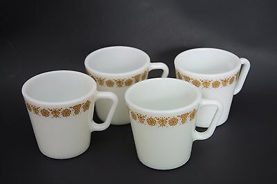 "Pyrex - Butterfly Gold - Set of 4 ""D"" handle coffee mugs"