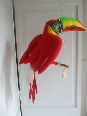 """Vintage Hanging Toucan Bird Perched on Wood Stick Red Yellow Fabric 20"""" tall"""