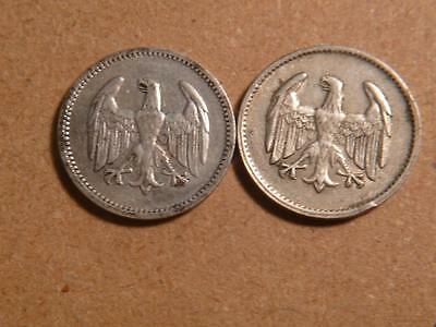 Germany 1924 A, 1925 D, 1 Mark, Silver, VF-XF Details...SKU#9455