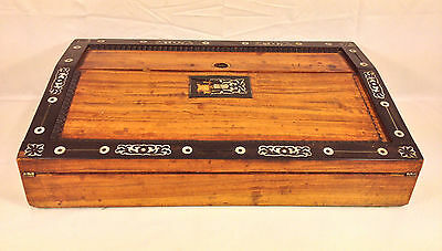Antique Asian Inlaid Lap Desk with Old Lock No Key