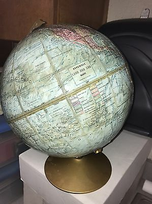 "Vintage 12"" World Globe REPLOGLE Land And Sea On Stand NICE!"
