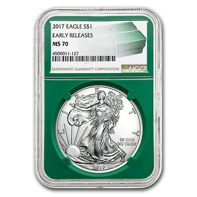 2017 American Silver Eagle NGC MS-70 ER Green Holder 1 oz .999 Silver BU Coin
