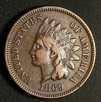 1869 INDIAN HEAD CENT - With LIBERTY - Near VF VERY FINE