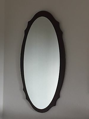 Vintage Mid-century Oval Mirror With Wooden Frame