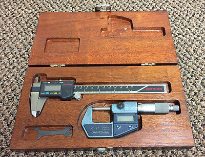 Craftsman / Mitutoyo Digital Caliper & Micrometer Set in Wood Case - Japan
