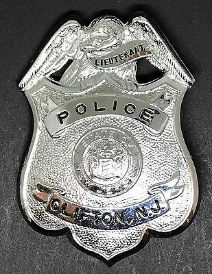VINTAGE OBSOLETE LIEUTENANT STATE OF NEW JERSEY CLIFTON Collector's Police Badge