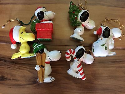 Vintage Peanuts Snoopy Ceramic Christmas Ornament Lot SYNDICATED