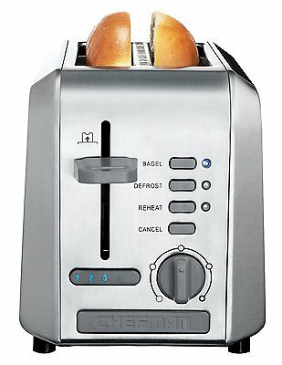 Stainless Steel Toaster 2 Slice Toaster Wide Slots, Crumb Tray Chefman RJ31-SS