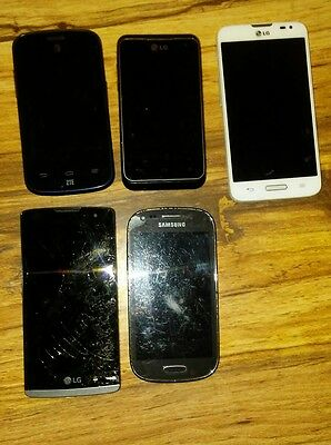 cell phone lot of five phones for parts