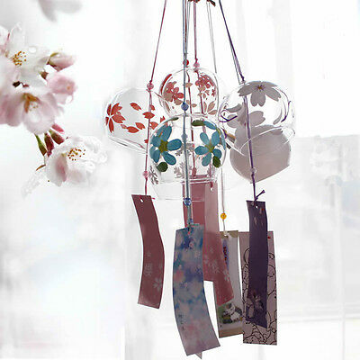 Wind Chime Japanese Style Glass Windchime Garden Home Decor Gift Bell Partten