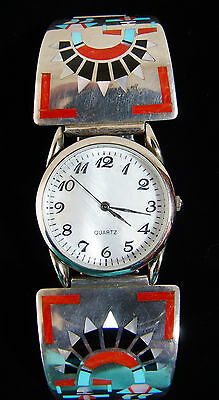 Vintage F.L. Natachu Sterling Silver Watch 60s Zuni w/ Turquoise Red Coral