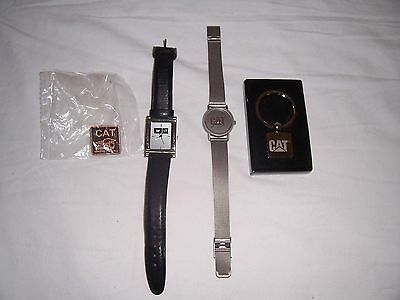 Lot Of Cat Caterpillar Manufacturing Employee Watches, Pin, And Key Chain