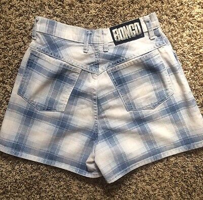 BONGO Vtg 90s Grunge Plaid Light Wash High Waisted Jean Shorts Sz 00/ 24