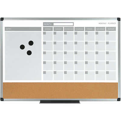 """MasterVision 3-in-1 Calendar/Planner Board 18""""X24""""-Silver Finish Metal Frame"""