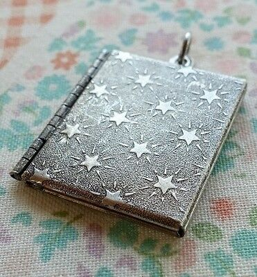 NWT Catherine Popesco Small Square Star Book Vintage Silver Locket Mother's Day
