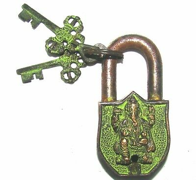 Lord Ganesha Ganesh  Engraved Antique Style Handmade Brass Door Lock With Keys