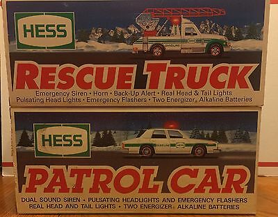 Hess 1993 Patrol Car and 1994 Rescue Truck in Original Boxes