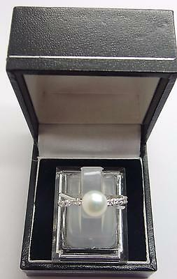 925 Sterling Silver ring Freshwater Cultured Pearl Ring Size N 1/2 UK 7 US #V1
