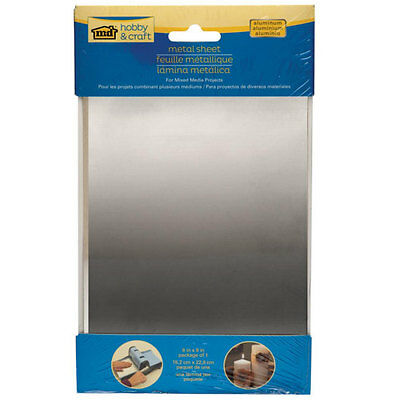 """Aluminum Sheet Metal Silver Color 9X6"""" Cut Stamp Bend Emboss Paint for Crafts"""