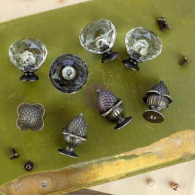 Antique Style Knobs - Vintage Style - 4 Antiqued Brass Pine Cone & 4 Clear Glass