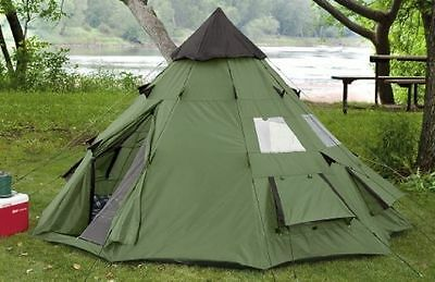 Teepee Tent 6 Person Family Camping Military Hiking Outdoor Survival Green NEW