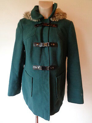 Red Herring Maternity Green Hooded Faux Fur Trim Donkey Jacket Coat Size 14