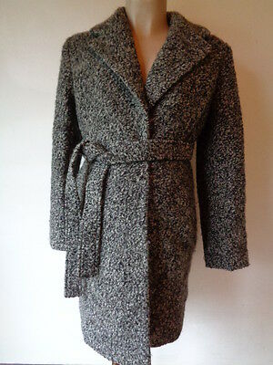 H&m Mama Maternity Grey Twill Wool Blend Coat Mac Jacket Size S 8-10