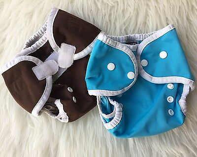 Size 1 Thirsties Hook and Loop Snap Blue Brown Double Gusset Cloth Diaper Cover