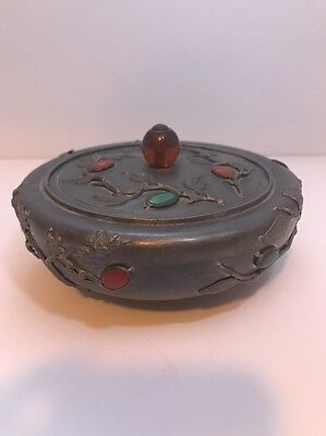 Antique Chinese Pewter Round Box With Lid  Jade, Agate, & Carnelian Stones