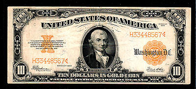 1922 $10 Large Size Gold Certificate Currency