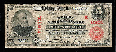 1902 $5  Large Size Red Seal National Banknotes pennsylvania