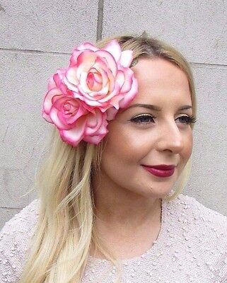Large Double Cream Pink Rose Flower Hair Clip Rockabilly 1950s Vintage Big 2700