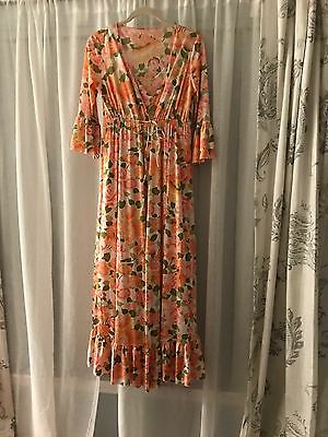 vintage 1970's nightgown and robe small floral